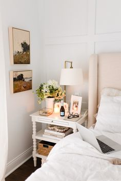 The White Paint Colors We've Used in Our Homes - Elizabeth Street Post White Paint Colors, White Paints, Home Bedroom, Bedroom Decor, Bedroom Ideas, Bedroom Inspiration, Master Bedroom, Living Room Workout, Dresser As Nightstand