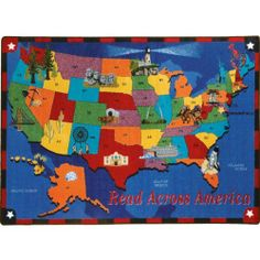 "Read Across America Classroom Rug - Rectangle - 5'4""W x 7'8""L by Joy Carpets. $179.75. The Read Across America Classroom Rug from Joy Carpets encourages children from all parts of our beautiful country to keep reading. And teachers can work the natural and historic landmarks into teaching and discussion opportunities. This STAINMASTER(r) school rug features an anti-soil and antimicrobial treatment, so it will stay protected against spills and germs. And the durable..."