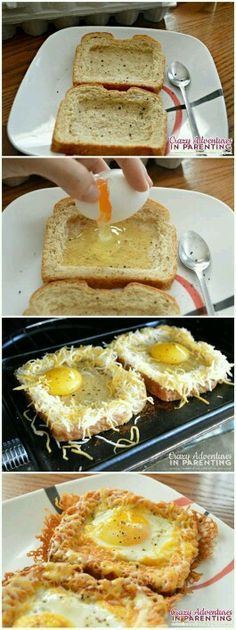 Tostadas con huevo y queso rallado