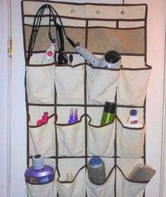 Short on bathroom space? Make more room in the bathroom cupboards and drawers by storing makeup and bathroom necessities in a shoe caddy. Shoe Caddy, Neutral Bathroom Tile, Small Bathroom Storage, Bathroom Organization, Bathroom Ideas, Bathroom Stuff, Attic Bathroom, Diy Bathroom Decor, Office Organization
