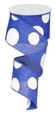 """2.5"""" x 10yd Faux Burlap Giant Dot Ribbon: Royal Blue/White"""