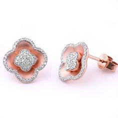 These gorgeous clover-shaped stud earrings are adorned with sparkling white diamonds with a total weight of The earrings are made out of rose gold with a satin and polished finish. Diamond Flower, Flower Stud, Diamond Earrings, Stud Earrings, Colored Diamonds, Heart Ring, Sparkle, Rose Gold, Fancy