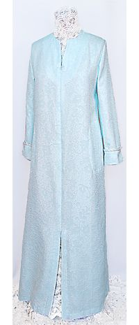 The Hostess with the Mostest: This blue satin jacquard zip caftan looks like a million dollars. The fabric is a textured satin trimmed in a rich ivory braiding. The greatest asset of this robe is its elegance and comfort. The fabric has a light cotton brush back to warms you up in cold climes.