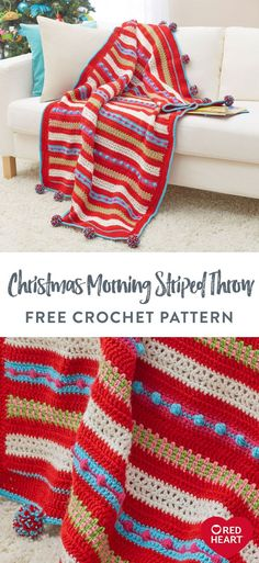 Christmas Morning Striped Throw free crochet pattern in Red Heart Super Saver. Watch the kiddies open their gifts while you snuggle under this colorful crochet throw. Featuring funky colors of Red Heart Super Saver, stitch this striking pattern with playful pompom trims. Of course, you can choose the shades to complement your holiday décor, or select tones that look great all season-long. It adds character and warmth wherever it's displayed. Easy Knitting Patterns, Knitting Stitches, Knitting Projects, Crochet Projects, Knit Or Crochet, Crochet Crafts, Free Crochet, Super Saver, Christmas Knitting