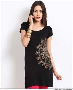 Women-Black-Cotton-Kurtis