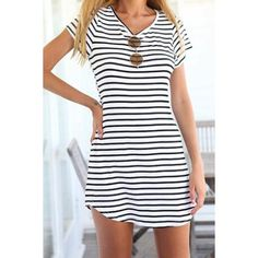 Casual Scoop Neck Striped Short Sleeve Dress For Women