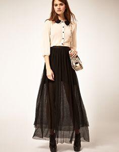 ASOS Maxi Skirt in Mesh