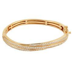 Bracelete Semi Joia em Prata com Banho de Ouro 18k e Cravação de Zircônias