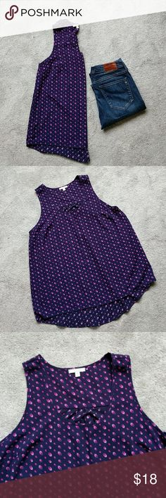 """Purple Pleione Tank Top This is perfect for warmer weather or under a cardigan.  Slight hi-low hem 21"""" armpit to armpit 31"""" back length Pleione Tops Tank Tops"""