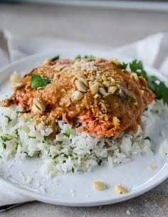 salmon with thai curry peanut sauce and coconut cilantro rice I howsweeteats.com