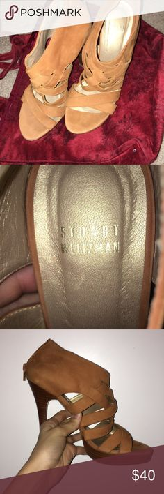 brown/tan heels super cute and only worn twice. Grew out of them but I wore them with dresses, skirts, jeans even! Very stylish with zip up the back. Will have your friends in awe as you strut your new shoes! staurt weitzman Shoes Heels