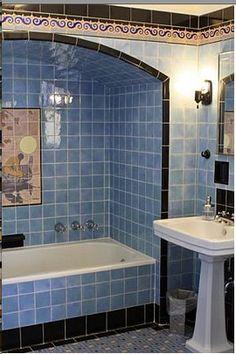 Art Deco Bathroom in Baby Blue w/ Tile Mural in Shower