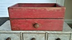 "Red Reproduction Drawer with Storage Area 11"" W x 5 1/8"" H x 6 1/2"" D Go to www.primitivespast.com or www.primitivespast.blogspot.com"