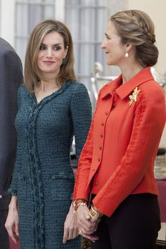 ueen Sofia, King Felipe VI of Spain, Queen Letizia of Spain and Princess Elena attend National Sport Awards 2013 at Royal Palace of El Pardo on December 4, 2014 in Madrid, Spain.