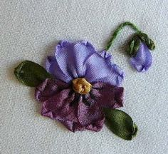 Silk Ribbon Embroidery: Tutorial - Pansy