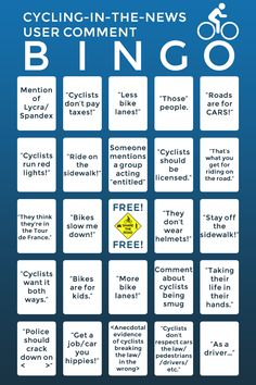 Cycling Bingo! Seen any cycling-related articles in your local media lately? Cycling Bingo works with Radio Shock Jocks too! :-)