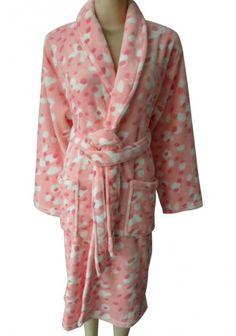 Pink Print Thick Winter Keep Warm Flannel Robe Bathrobe For Women