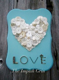 A personal favorite from my Etsy shop https://www.etsy.com/listing/505319385/repurposed-recycled-white-button-heart