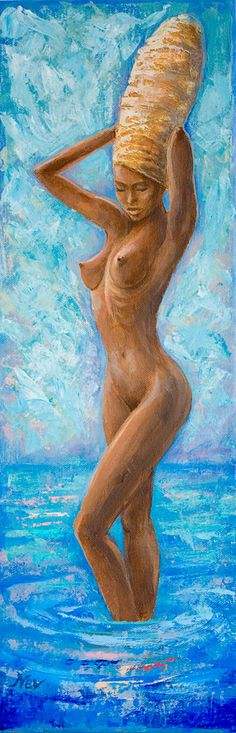Archival Art Print Erotic art Bathing beauty Sexy Woman Sensual painting Home decor Nude African woman Sea Ocean Landscape Contemporary art by ScentOfArt on Etsy