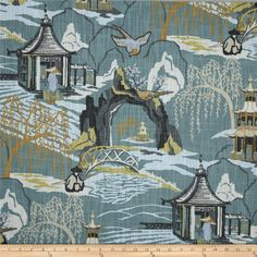 Robert Allen Neo Toile Cove from @fabricdotcom  Screen printed on 2 way slub duck cloth (slub cloth has a linen appearance), this versatile medium weight cotton fabric is perfect for window accents (draperies, valances, curtains and swags), accent pillows, bed skirts, duvet covers, slipcovers , upholstery and other home decor accents. Create handbags, tote bags, aprons and more. Colors include gold, ivory, light blue, tan, grey and teal blue. This fabric has 65,000 double rubs.