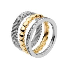 Skagen Iben Steel Mesh and Crystal Stacking Rings ($55) ❤ liked on Polyvore featuring jewelry, rings, gold and silver jewelry, steel ring, crystal rings, stackable rings and circle ring