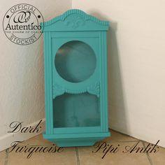 Mini vitrineskab i Dark Turquoise Autentico kalkmaling