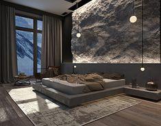 Modern Bedroom Design, Master Bedroom Design, Modern Interior Design, Stone Wall Design, Stone Interior, Outdoor Living Rooms, Rustic Home Design, Tadelakt, Dream Rooms