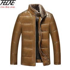 Chaqueta de Cuero de los hombres Abajo Chaquetas de Invierno Abrigo para Los Hombres Ganso Chaqueta de piel de Oveja de Pie Cuello de Piel de Calidad de Cuero Genuino abrigos