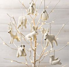 Wool Felt Animal Ornament Set of 8