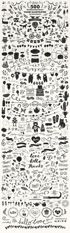 Watercolor-ready hand illustrated vector elements.