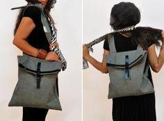 Backpack-Messenger bag/ Gray/ Multiple bag/ by misirlouHandmade