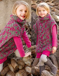 KNITTING PATTERN cable poncho Robyn with a headband (toddler, child, adult woman sizes) Poncho Au Crochet, Crochet Diy, Crochet Girls, Love Crochet, Crochet For Kids, Knitting For Kids, Baby Knitting, Pull Bebe, Kids Poncho