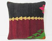 """Turkish cushion 18"""" sofa throw pillow kilim pillow cover decorative pillow case couch outdoor floor bohemian boho ethnic rustic accent 21781"""