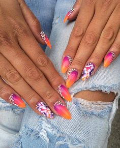by Emilia Maria Indigo Young :) Find more inspiration at www.indigo-nails.com #nailart #nails #indigo #pink #neon #orange #flower