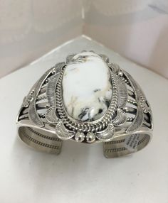 Native American Navajo White Buffalo Turquoise Cuff M Spencer Silver Jewellery Indian