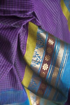Handloom Andhra Gadwal cotton and silk saree hand-picked from rural India by Omnah.