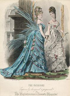 February ballgowns, 1875 England, The Englishwoman's Domestic Magazine