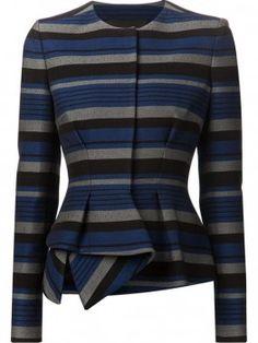 Proenza Schouler Striped Peplum Jacket worn by Olivia Pope Fashion Wear, Work Fashion, Fashion Outfits, Peplum Jacket, Peplum Blazer, Cotton Blazer, Cotton Jacket, Stripe Blazer, Striped Jacket
