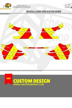 (Standard Kit) 150mm Chevrons in Fluorescent Yellow and Engineering Grade Red reflective.  Up to windows only.  Our kits are supplied with Full Fluorescent Yellow panels (not individual stripes) with Red Reflective chevrons lossely taped in place.  If you want to know more, please visit: http://chevronshop.com/shop/index.php?route=product/product&product_id=49&filter_category_id=83&sort=p.sort_order&order=ASC&page=1 #Chevronshop #Chevron #AllAboutChevrons #ChevronKits #Chevrons