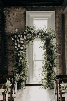 Lush, natural arch with organic greenery and neutral/ivory flowers // Nashville Wedding Florist wedding arch Hayden + Todd: Alaska Mountains Inspired Wintry Wedding — Rosemary & Finch Floral Design Winter Wedding Arch, Church Wedding Flowers, Wedding Flower Guide, Wedding Ceremony Arch, Ceremony Backdrop, Flower Bouquet Wedding, Wedding Arches, Wedding Arch Greenery, Wedding Backdrops