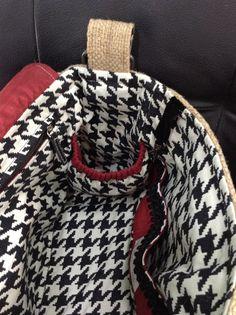 Gathered inside pocket Alabama Crimson Tide burlap purse