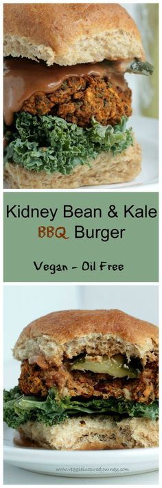 """Kidney Bean & Kale BBQ Burger - these vegan burgers hold up perfectly! Crispy on the outside, """"meaty"""" on the inside and so full of BBQ flavor goodness! #vegan #veggieburger #BBQ #oilfree #kale #kidneybeans"""
