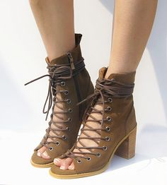 Aliexpress.com : Buy 2015 Cowhide Leather Botines Mujer Open Toe Summer Shoes Sexy Lace Up Boots Thick Heel Women Boots Cool Gladiator Boot Sandals from Reliable sandals wings suppliers on Fashion  trend  Tian's store.  | Alibaba Group