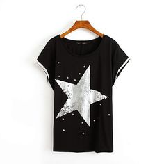 Big Star Print Cotton T-Shirt 040810