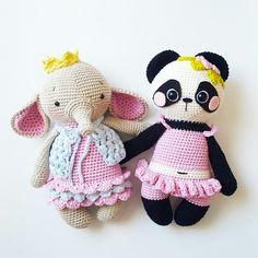 Amalou.Designs crochet Pattern Amigurumi Ava elephant & Nele pandabear