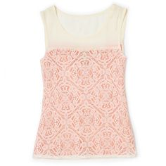 Marc by Marc Jacobs Muriel Neon Lace Tank ($121) ❤ liked on Polyvore featuring tops, shirts, tank tops, tanks, scoop neck shirt, lace shirt, neon tank, lace top and neon shirts