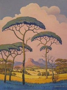 """A Peaceful Morning (Pierneef Style)"" Hannes vd Walt Contemporary Landscape, Landscape Art, Landscape Paintings, Landscapes, Landscape Illustration, Illustration Art, Native American Prayers, Beautiful Paintings, Pastel Paintings"