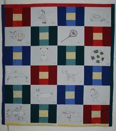 """Babyquilt for Noa , 47"""" x 53"""" , kids drawings transfered with free motion quilting - Kinderzeichnungen mit freiem Maschinen Quilten übertragen .1,20m x 1,35 m, 2015"""
