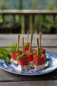 Easy Recipe for Watermelon Bites with feta & mint. By Erin Gleeson / The Forest Feast for Better Homes & Gardens #delishdish @bhg