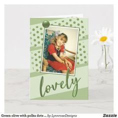Green olive with polka dots lovely birthday photo card Happy Birthday Greeting Card, Birthday Cards, Plant Design, Birthday Photos, Holiday Photos, Red And Grey, Custom Greeting Cards, Kids Cards, Party Hats